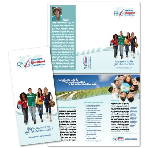 Brochure Design | RNG International Educational Consultants | target marked focused on worldwide, international, students, and education | business located in Denver, CO