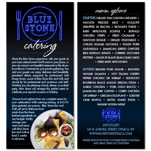 Rack Card Design | Blue Stone Catering | focused target market of events, partys, catering, food | restaurant located in Ithaca, NY