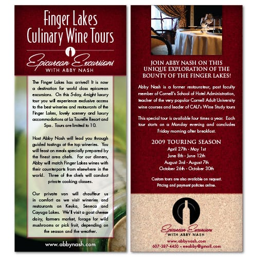 Rack Card Design | Epicurean Excursions with Abby Nash | focused target market on tourism of the Finger Lakes | guided visits, wineries, restaurants, deluxe accomodations, and wine education events | small wine centered business located in Ithaca, NY