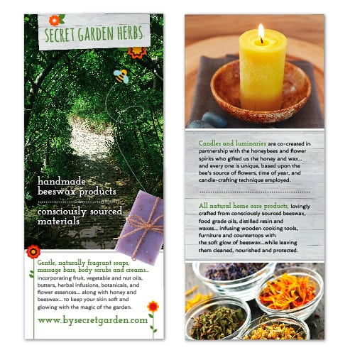 Rack Card Design | Secret Garden Herb | focused target market of handmade beeswax products and conciously sourced materials | small business located in Bayville, NJ