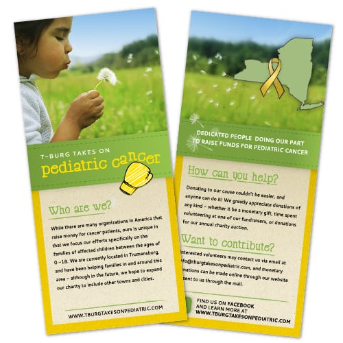 Rack Card Design | T-Burg Takes on Pediatric Cancer | focused target market on pediatric cancer, families, children, fundraising | organization located in Trumansburg, NY