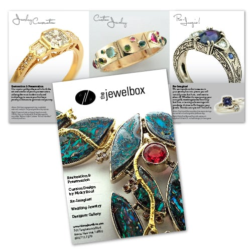 Brochure Design | The Ithaca Jewelbox | owned and operated by goldsmith Micky Roof | focused target market of men and women, jewelry, wedding and engagement rings, artisan jewelry, luxury hand crafted jewelry | jewelry boutique located on the waterfront in Ithaca, NY | home of the Finger Lakes Charm