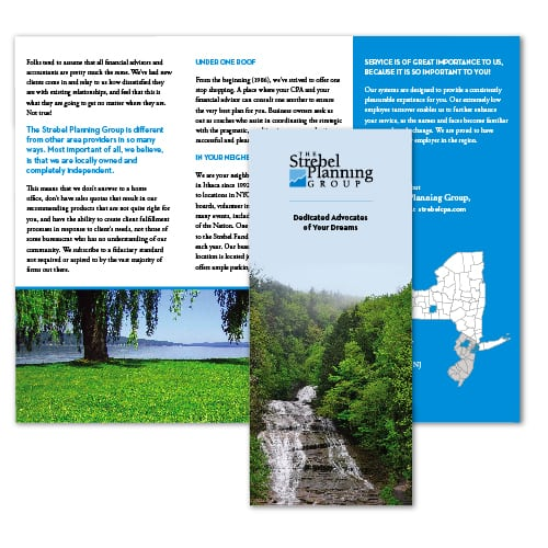 Brochure Design | The Strebel Planning Group | focused target on tax preparations, planning, accounting, investment, and business coaching | business located in Ithaca, NY
