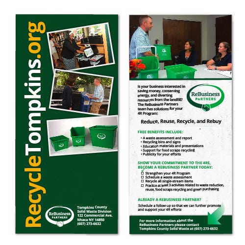 Rack Card Design | Tompkins County Recycling Center | target market focused on recycling, waste management and reduction, hazardous waste, Tompkins County residents | solid waste management division located in Tompkins County, NY