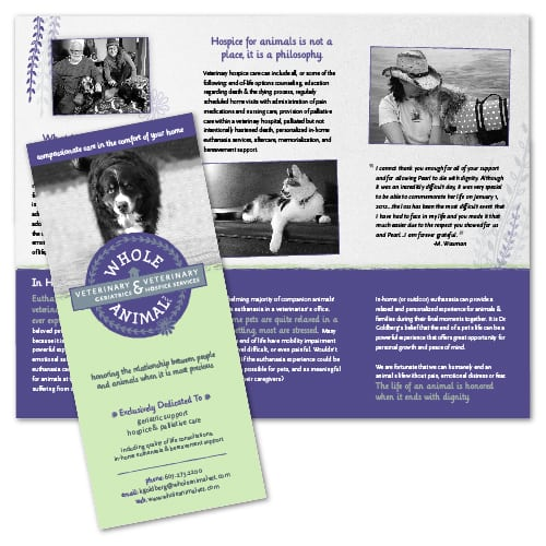 Brochure Design | Whole Animal | target market of veterinary geriatrics, palliiative care, and veterinary hospice services | business located in Ithaca, NY