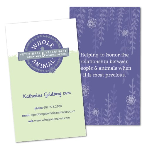 Business Card Design | Whole Animal | target market of veterinary geriatrics, palliiative care, and veterinary hospice services | business located in Ithaca, NY