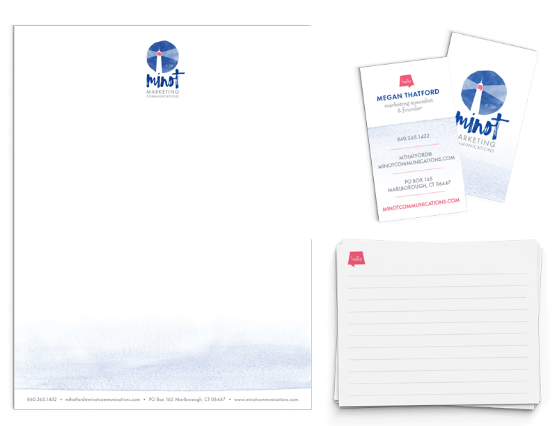 Stationery Design | Minot Marketing Communications | focused target market of marketing, communications, and businesses | marketing and communications business located in Marlborough, CT