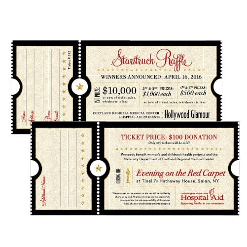 Raffle Ticket Design | Cortland Regional Medical Center | target market focused on donors and aniversary events | event located in Cortland, NY