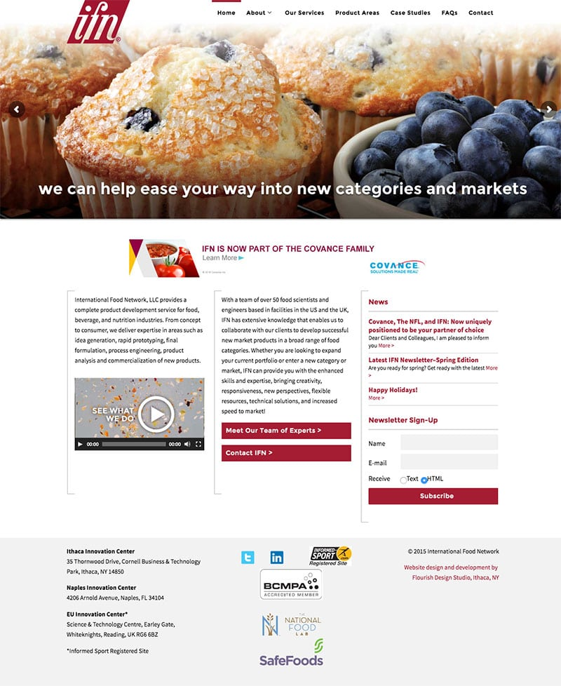 Website Design | International Food Network | focused target market of product development and prototyping | business located in Ithaca, NY
