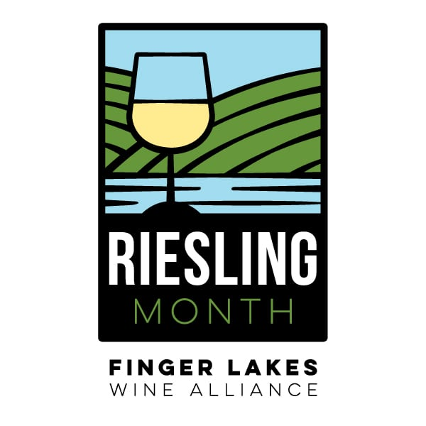 Not For Profit Logo Design| Riesling Month| Finger Lakes Wine Alliance | target market focus on Finger Lakes Wineries, wine tasting, wine makers, grape growers, wine trails, non- wine trails, and workshops |not for profit located in Geneva, NY