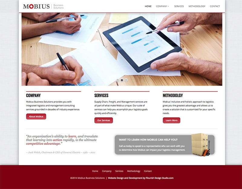 Website Design | Mobius Business Solutions | target market focused on businesses, logistics, and management consulting | business located in Ithaca, NY