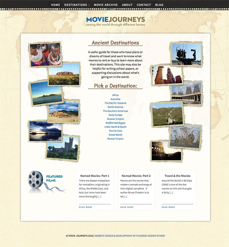 Website Design | Movie Journeys | focused target market of traveling enthusiasts and travel guides | located in Ithaca, NY