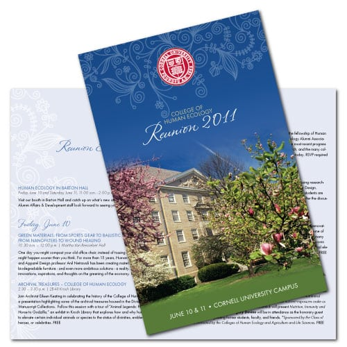 Brochure Design | Cornell College of Human Ecology Reunion 2011 | target market of alumni events and Cornell College | event located in Ithaca, NY