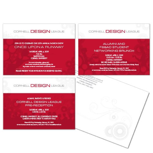 Event Postcard | Cornell University Design League |focused target market of networking, alumni events, and fashion design | event located in Ithaca, NY