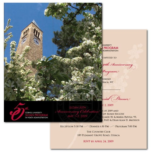 Event Invitation Design | Cornell University Sloan Program | focused target market of events and anniversary celebrations| event located in Ithaca, NY