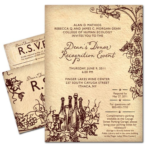 Event Invitation Design | Cornell University Donor Dinner 2011 | focused target market on donor events | event located in Ithaca, NY