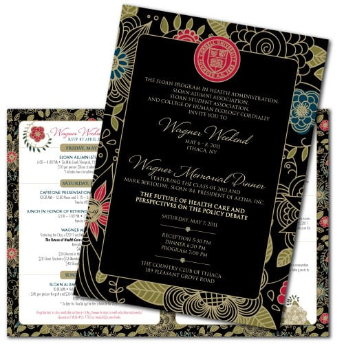 Event Invitation Design | Cornell Wagner Weekend 2011 | target market focused on wine and gatherings | event located in Ithaca, NY