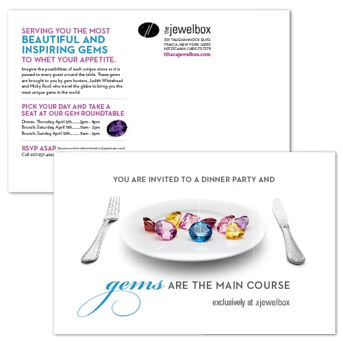 Event Invitation, Postcard Design | The Ithaca JewlboX | focused target market of men and women, jewelry, wedding and engagement rings, artisan jewelry, luxury hand crafted jewelry | jewelry boutique located on the waterfront in Ithaca, NY | home of the Finger Lakes Charm