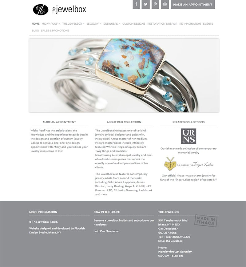 Website Design | The Jewelbox | owned and operated by goldsmith Micky Roof | focused target market of men and women, jewelry, wedding and engagement rings, artisan jewelry, luxury hand crafted jewelry | jewelry boutique located on the waterfront in Ithaca, NY | home of the Finger Lakes Charm