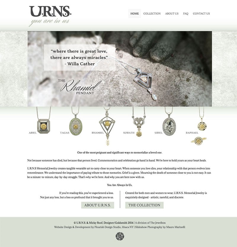 Website Design | URNS | owned and operated by goldsmith Micky Roof | focused target market of memorial jewelry, luxury hand crafted jewelry | located in Ithaca, NY
