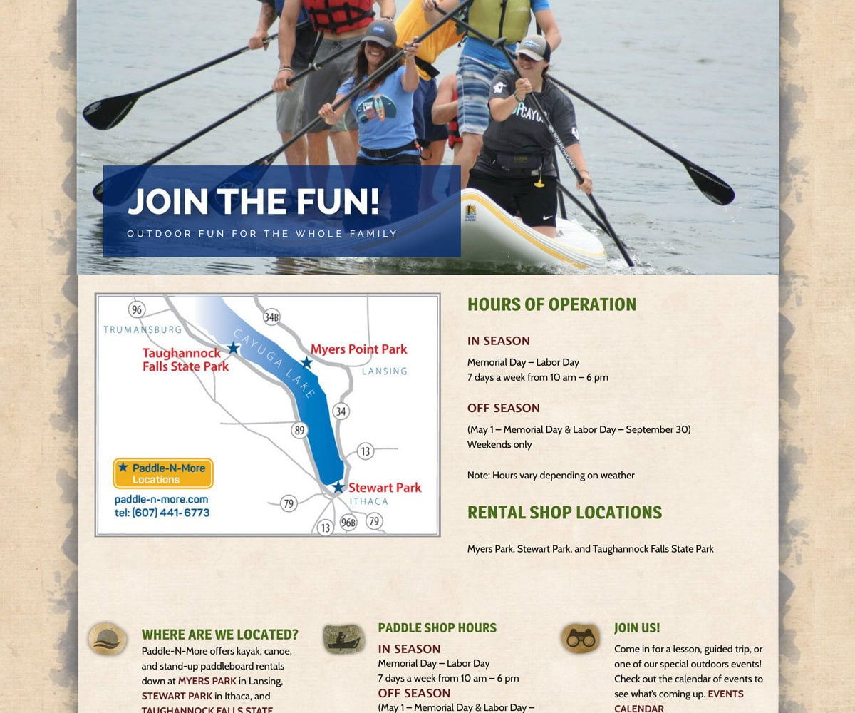 Website Development and Design for Paddle N More, Ithaca NY