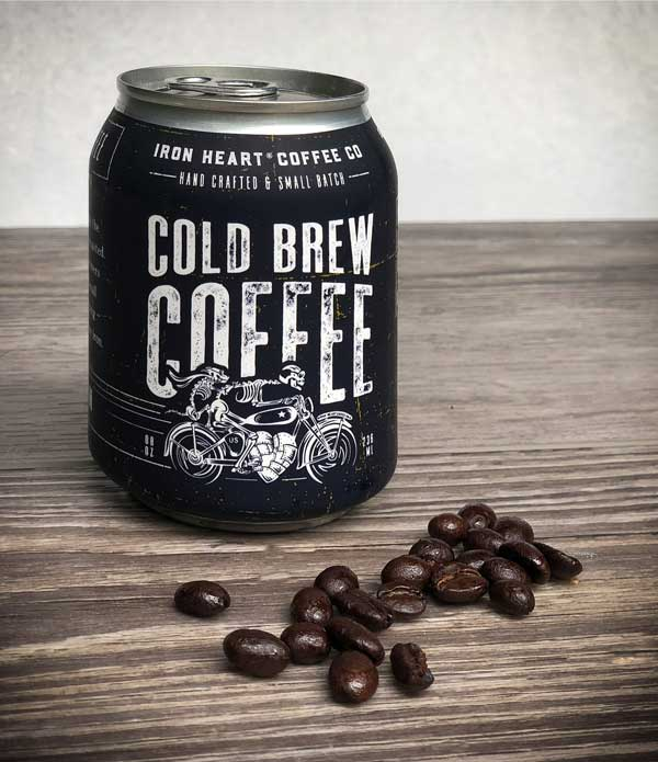 Small Batch Coffee Company Packaging | Iron Heart Coffee Company Cold Brew Can, part of Three Brothers Wineries | located in Geneva, NY