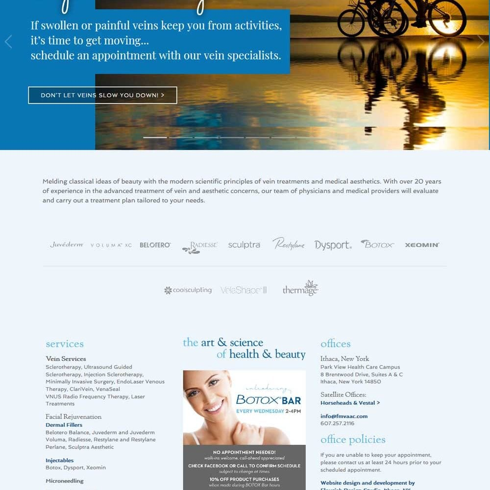Aesthetic Medical Practice Website Design and Development | Ferrer & Monaghan Vein and Aesthetic Center | aesthetic and vein services provided by doctors and specialists | practice located in Ithaca, Vestal and Horesheads, NY