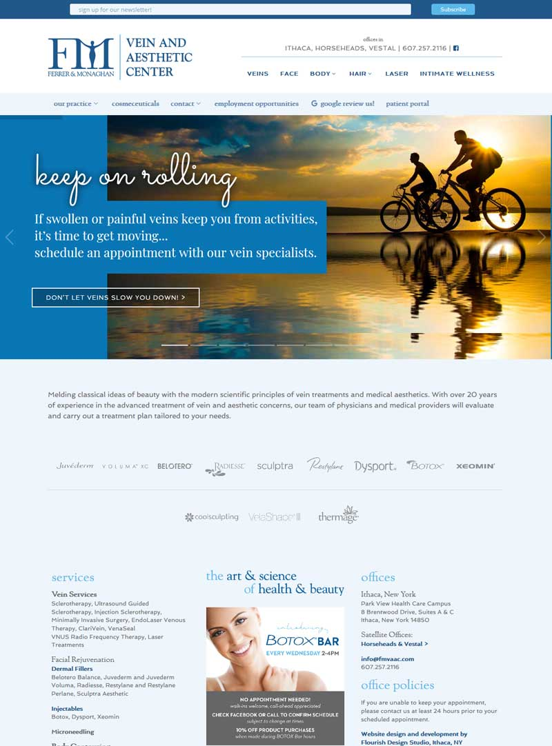 Aesthetic Medical Practice Website | Ferrer & Monaghan Vein and Aesthetic Center | aesthetic and vein services provided by doctors and specialists | practice located in Ithaca, Vestal and Horesheads, NY