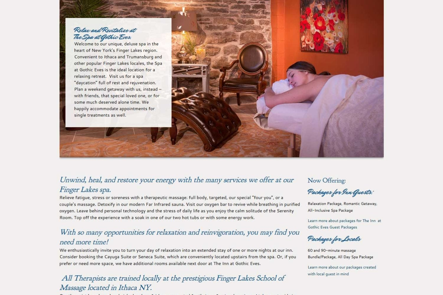 Spa Website | Spa at Gothic Eves | Massage and Spa Services in Trumansburg, NY