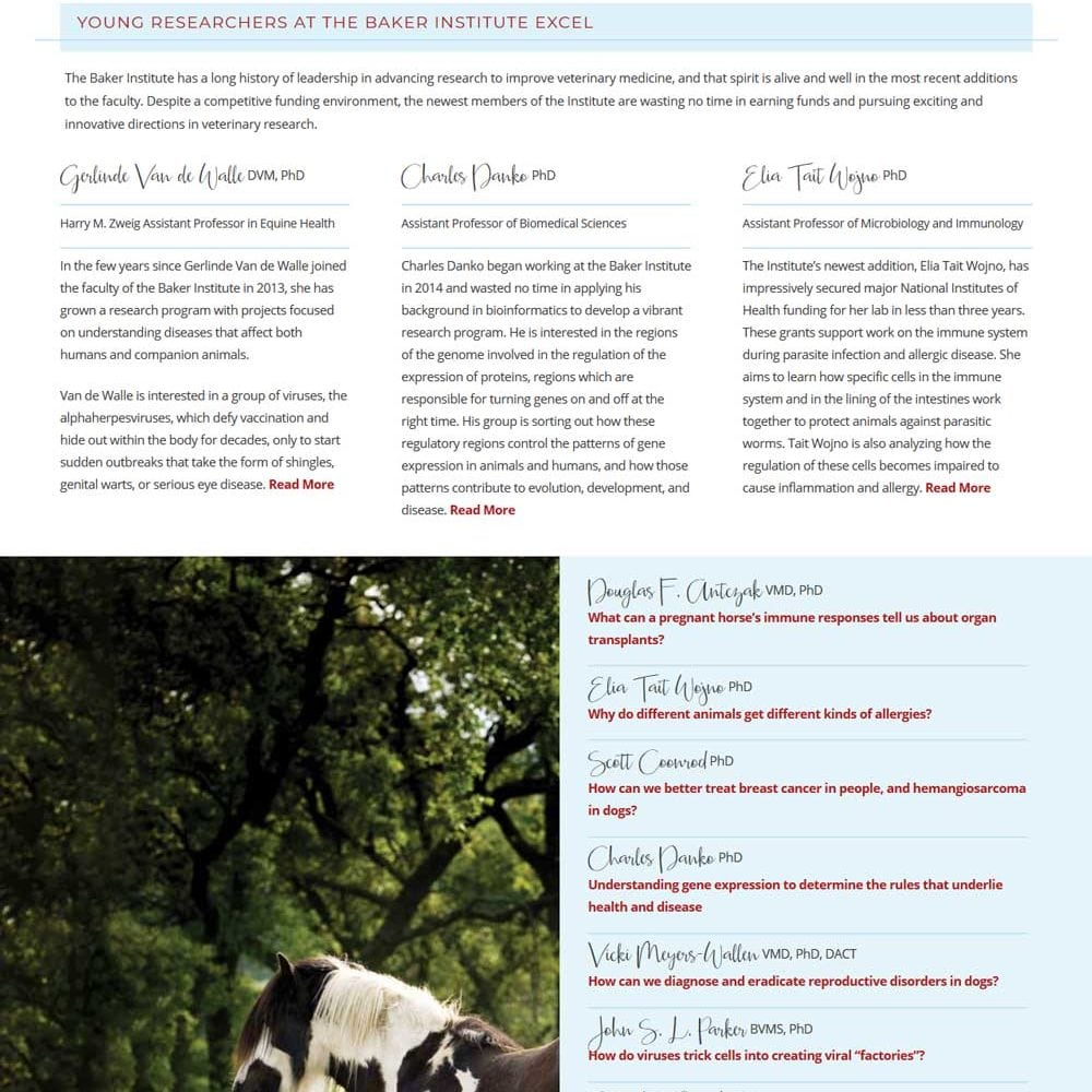 Annual Report Website | Baker Institute for Animal Health at Cornell University in Ithaca, NY