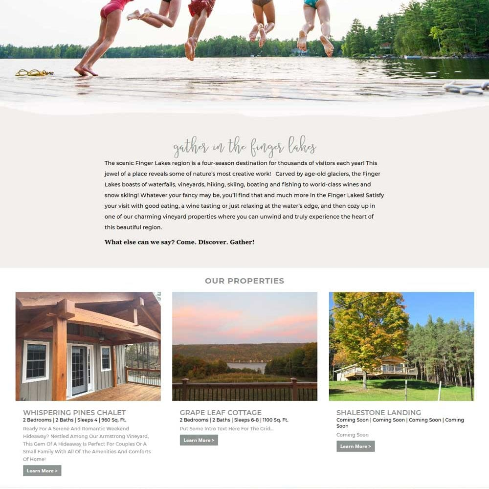 Hospitality Website | Gather FLX | Home Rentals in the Finger Lakes, NY