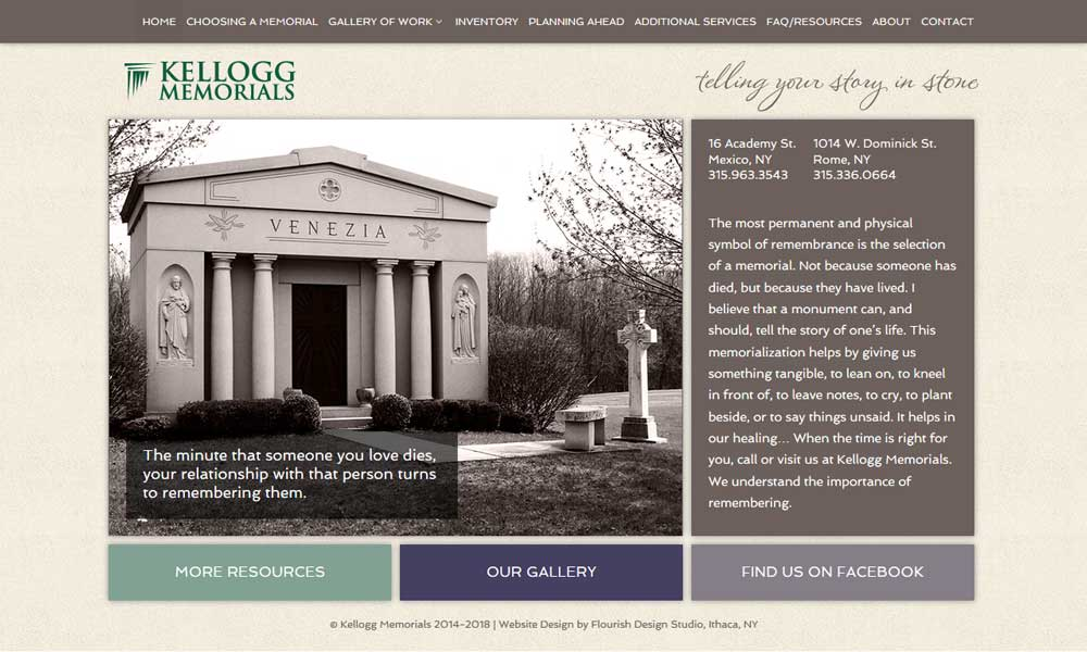 Memorial & Stone Monuments Website | Kellogg Memorials | Rome and Mexico, NY